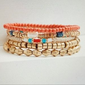 ❤️ 3 FOR $20 Multi Bead Stretch Bracelet Set of 5